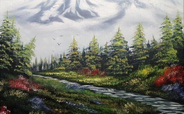 Olejomalba Bob Ross  - v ceně kurzu plátno 60x50cm.Malířské a další pomůcky  k dispozici na kurzu !!!