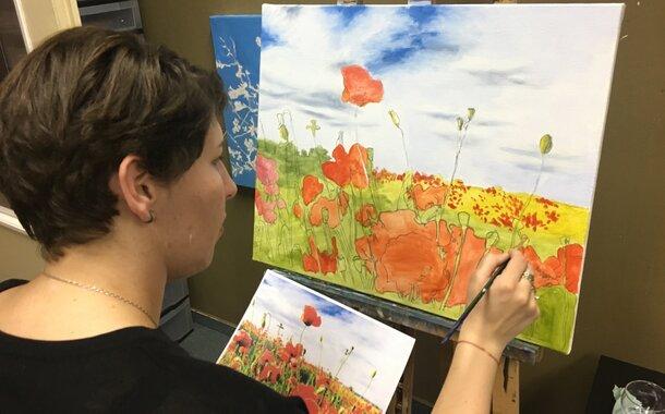 LETNÍ 1-denní kurz malování  BEZ POMŮCEK ,1x plátno ZDARMA